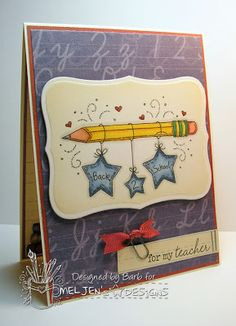 The Buzz: card featuring Back 2 School Pencil, a digital stamp from #MelJen's Designs. Visit the blog to see the inside of the card!