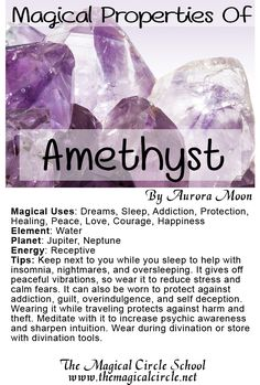 The Magical Properties of Amethyst created by Aurora Moon for The Magical Circle School www.themagicalcircle.net