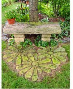 Garden bench a stone flower path