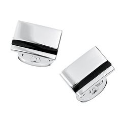 Earn your stripes after making an impressive statement in these silver and onyx cufflinks. Beautifully handcrafted, this engravable pair features a bold inlaid stripe that makes for a powerful impress