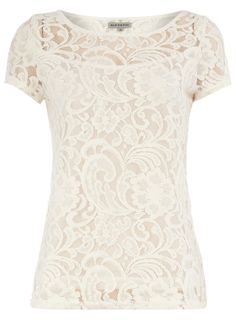 Cream lace tee - Dorothy Perkins United States