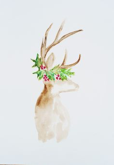 Watercolor deer with Holly for Christmas card