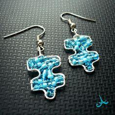 Puzzle - drátkované náušnice modré