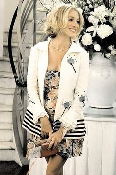 one of my favorite Carrie Bradshaw outfits...mismatching perfection! Marni dress