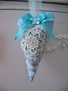 Blue Valentine / Fabric Heart With Vintage Lace