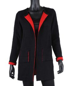 Loving this Black & Red Contrast-Lined Cardigan on #zulily! #zulilyfinds