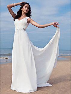 Sheath/Column V-neck Floor-length Chiffon Wedding Dress With... – USD $ 129.99