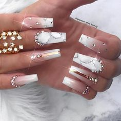 The Most Beautiful and Fascinating White Nail Designs: White Manicure Ideas<br> Clear Nail Designs, White Nail Designs, Acrylic Nail Designs, Nail Art Designs, White Manicure, White Acrylic Nails, White Nails, Fabulous Nails, Perfect Nails