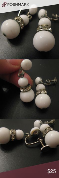 Antique milk glass screw back earrings White milk glass art deco influence dangle earrings from 1930s. Pretty and flawless, Great Gatsby lives on.  Pastes are clear and none are missing.  They are pave set in rondelet style.  Screw back earrings.  I wonder who wore these with their bangs and bob - so interesting. Antique Jewelry