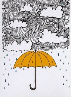 The Yellow Umbrella Illustration by: Taren S. by osloANDalfred Art And Illustration, Doodle Art, Art Sketches, Art Drawings, Yellow Umbrella, Umbrella Art, Art Plastique, Art Inspo, Artsy