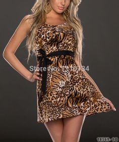feestjurken luipaard patroon gedrukt schaatser jurk zwart shashes afgestemd vrouwen grote schommel club jurk 873 $11,77 (free shipping)