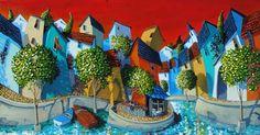 """Miguel Freitas: """"Summer Memories"""", acrylic on board."""