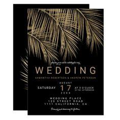 Modern faux gold palm tree elegant black wedding card - wedding invitations diy cyo special idea personalize card