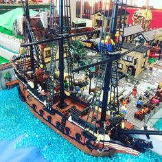 Lego Pirate Ship, Lego Ship, Lego Boat, Lego Worlds, Lego Photography, Lego Models, Lego Projects, Lego Building, Lego Brick