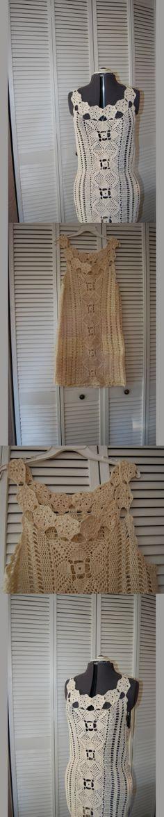 vestido de crochê em algodão cru