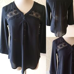 American Eagle Outfitters blouse, 100% polyester ~ black ~ semi sheer with lace ~ button down in front ~ size XS/TP • $20.00 + shipping. 🖤