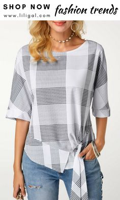 Tie Side Asymmetric Hem Printed t-shirts Funky Outfits, Fashion Outfits, Womens Fashion, Blouse Styles, Blouse Designs, Cotton Blouses, Shirt Blouses, Plain Tops, Blouse And Skirt