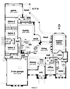 mediterranean homes, one story floor plans house, home plans, stori floor, dream homes, garages, hous plan, floorplan, bonus rooms
