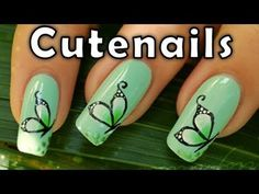 Butterfly Nail Art! So Cute! Like this look? Join www.bellashoot.com for more cute nail looks!