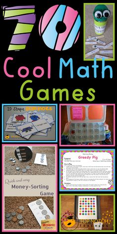 Math Games 70 cool math games, separated by grade level. An amazing list to help add some activity to your math cool math games, separated by grade level. An amazing list to help add some activity to your math lessons. Fun Math Games, Math Activities, Math Resources, Primary Maths Games, Rounding Games, Math Sites, Learning Games, Maths 3e, Math Math