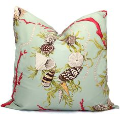 Decorative Pillow Cover in Brunschwig and Fils Aphrodites Treasure Square or Lumbar pillow, Accent cushion, Throw pillow, Seashell pillow by PopOColor on Etsy https://www.etsy.com/listing/75347543/decorative-pillow-cover-in-brunschwig