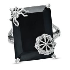 Onyx and Diamond Accent Spider and Web Ring in Sterling Silver - Zales
