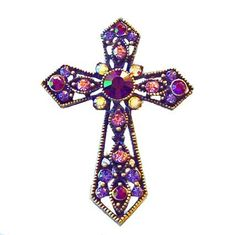 Cross Pin Swarovski Crystals Christian Jewelry Purple Lavender Pink Violet Cr... $35.00 #topseller