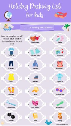 Holiday Packing list for kids Help your kids pack - Holiday Packing list for kids - Get your free printable packing kids Holiday Packing list for kids - Get your free printable - Curious and Geeks Holiday Packing List Kids, Holiday Checklist, Winter Packing, Holiday Essentials List, Holiday List, Holiday Dinner, Winter Holiday, Holiday Recipes, Holiday Ideas