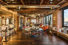 NYC Penthouse living room combines the vintage rustic and industrial elements Exclusive Antique Collection And Iconic Views Shape Elite New ...