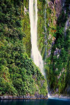 Milford Sound waterfall, Fiordland National Park, New Zealand -- Amazing photo of a New Zealand waterfal. All Nature, Amazing Nature, Beautiful Waterfalls, Beautiful Landscapes, Places To Travel, Places To See, Places Around The World, Around The Worlds, Milford Sound
