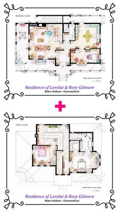 House of Lorelai and Rory Gilmore  by TVFLOORPLANSandMORE on Etsy, €120.00