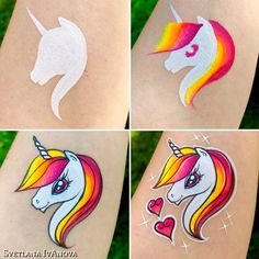 Face Painting Unicorn, Face Painting Tips, Face Painting Tutorials, Unicorn Face, Face Painting Designs, Painting For Kids, Body Painting, Face Paintings, Homemade Face Paints