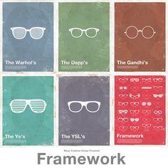 257417d254e Frameworks Posters By Moxy Creative Celebrate Famous Eyeglass Frames.