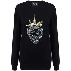 Markus Lupfer - Dark strawberry sequin natalie sweater ($455) ❤ liked on Polyvore featuring tops, sweaters, black top, black sweater, markus lupfer sweater, sequin sweater and wet look top