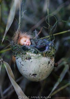 Sleeping pixie boy easter egg Osterei handmade decoration