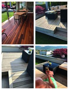 Im ersten Bild sehen wir vorne eine 15-jährige Holzterrasse aus Ipe (Brasilien) und im Hintergrund (und auf den weiteren drei Bildern) eine Lounge – genau gleich alt, aus dem genau gleichen Holz. Die vordere, rötliche Holzterrasse wird regelmässig von unseren Monteuren gereinigt UND geölt. Die Lounge, die ganzjährig der Witterung ausgesetzt ist, wird ebenfalls regelmässig gereinigt – aber NICHT geölt. Es entsteht diese silberfarbene Patina. Lounge, Patio, Outdoor Decor, Home Decor, Weather Vanes, Brazil, Garten, Photo Illustration, Airport Lounge