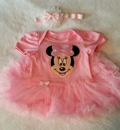 3mo Minnie Mouse Baby Dress with Matching Headband  Can Pick to buy with either Shoes or Socks  Shoes measure 3 7/8in long