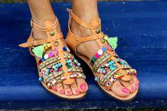 Spartan sandals Saltwater handmade to order por ElinaLinardaki