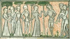 "14th century (ca. 1380) Central France - Paris    London, the British Library    Yates Thompson 21: Roman de la Rose  fol. 8v - ""dance of Mirth and Gladness"""