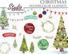 Christmas Cliparts, Watercolor Christmas Clip Art, Christmas Tree Clip Art, Holidays Lights, Watercolor Overlays, Winter Card Elements C305 by StudioDesset on Etsy