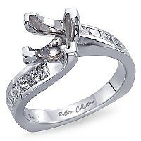 Semi Mount Channel Set Twist Engagement Ring for Princess