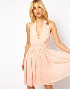 Women's #Fashion #Clothing: #Dresses: ASOS Subtle Beige #Pink Skater Dress with Sexy Halter Neck: Clothes