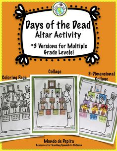 Days of the Dead Make Your Own Ofrenda / Altar Activity with THREE versions for multiple grade levels. Mundo de Pepita, Resources for Teaching Spanish to Children Learning French For Kids, Spanish Lessons For Kids, Spanish Lesson Plans, Ways Of Learning, Spanish Language Learning, Teaching Spanish, Spanish Teacher, Spanish Class, Middle School Spanish