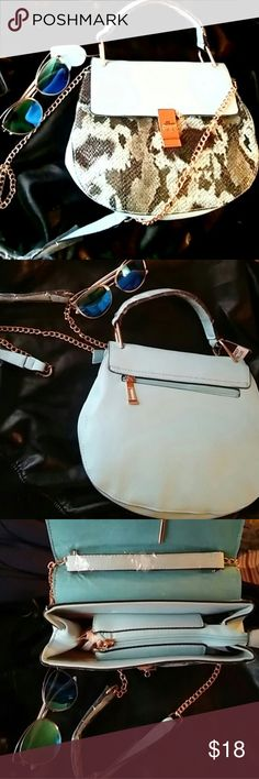 Gorgeous handbag Faux leather and snakeskin baby blue shoulder bag with the gold attached hanging chain with gold accents this bag is soooo Gorge!!! ❤️❤️ Bags Crossbody Bags