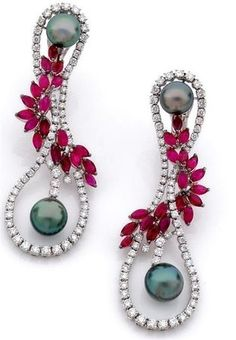 Black pearls with rubies and diamonds