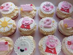 Pink and Pretty Peppa Pig cupcakes Bolo Da Peppa Pig, Peppa Pig Birthday Cake, Birthday Cake Girls, 2nd Birthday, Peppa E George, Childrens Cupcakes, Aniversario Peppa Pig, Pig Cupcakes, Girly Cakes