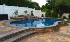 Semi Above Ground Pool, In Ground Pools, Swimming Pools Backyard, Pool Landscaping, Semi Inground Pool Deck, Above Ground Pool Inground, Cheap Inground Pool, Pools Inground, Inground Pool Designs