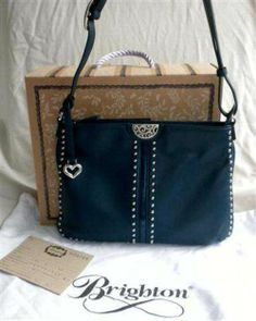 "Brighton ""Rex"" Studded Messenger Bag Pretty Tough Collection Spruce Teal Leather H3379S NWT"