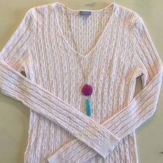 Ann Taylor ribbed sweater Medium Ann Taylor pale pink top 68% rayon 32%nylon size medium Ann Taylor Sweaters