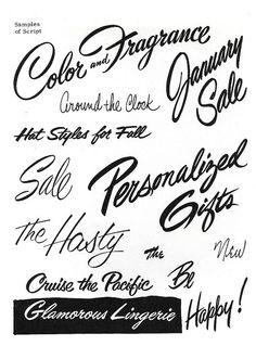 Brush Script Lettering    Sign Painting Course by E.C. Matthews, 1954